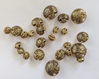 3 Sizes! 24 Gold Plastic Cutwork Buttons