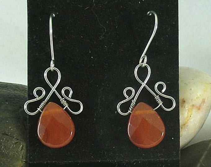 Carnelian Teardrop Renaissance Earrings - Wire Wrapped Briolettes