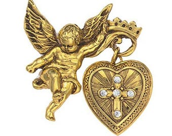 Vintage Cross in Glory Cherub Locket Brooch - Renaissance - Vatican Library