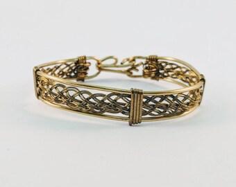 Wire Wrapped Bronze Basket Weave Bracelet  Cuff