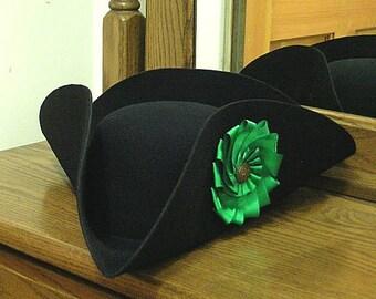 Green Cockade Tricorn - Colonial Subaltern's Felt Hat - Irish 18th c.