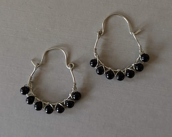 Wire Wrapped Black Obsidian Hoops -  Dragon Glass Earrings