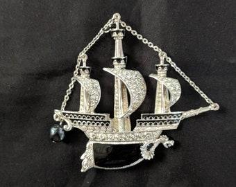 NEW! Black Pearl Ship Brooch - Elizabethan Renaissance Victorian