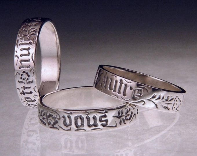 Vintage You And No Other - Sterling Silver Poesy Ring - Medieval French - 15th c.