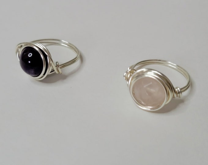 Round Wire Wrapped Rings - Crystal Wire Rings - Healing Crystal Rings
