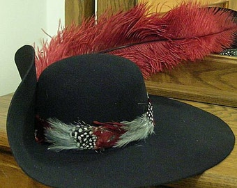 Black Felt Cavalier Hat - Brooch - Feather Hatband - Ostrich Feather