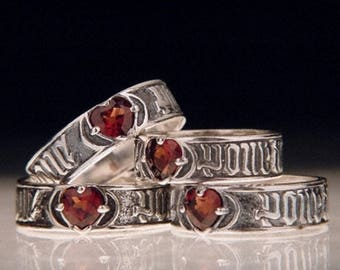 Love So Sweet Sterling Silver Poesy Ring - 15th c. French Garnet Heart