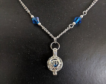 Sapphire Swarovski Crystal Virgo Zodiac Pendant Necklace - Astrology