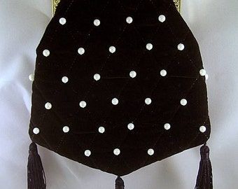 Black Velveteen Shoulder Purse Pearls & Quilting #2 - Renaissance