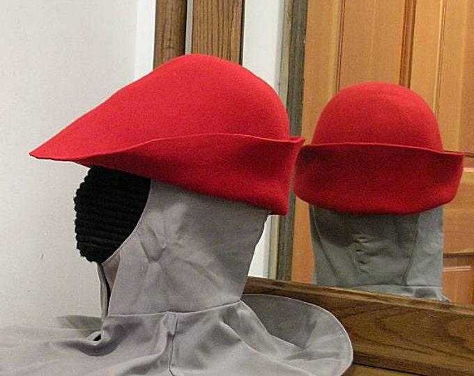 Red Felt Hat - Gothic Bell - Renaissance Hood - Bucket SCA - 15th century