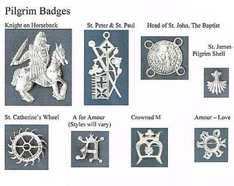 Pilgrim Badges - Rosary Accessories #4 - Hat Pins - Catholic Saints