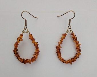 Baltic Amber Chip Loops - Earrings