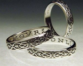 New! Yours Onli Sterling Silver Poesy Ring - 17 c. Old English Celtic
