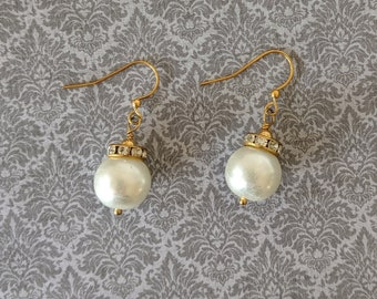 Elizabethan Pearl and Crystal Dangles #2 - Renaissance Earrings