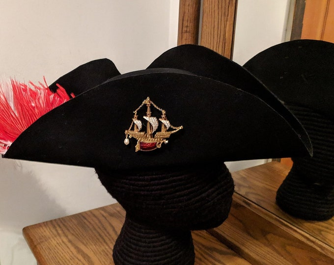 Laced Tricorn with Ship Brooch - Black Felt - Pirate Hat Revolutionary