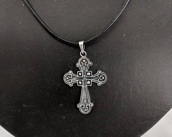Sterling Silver Antiqued Budded Cross on Leather Cord - Botonee Cross