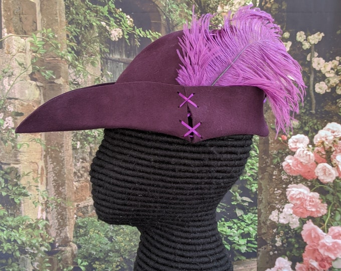 Purple Felt Bycocket - Laced Gothic Hat - Hunter's Cap - SCA Robin Hood Hat