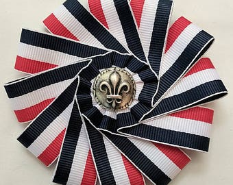 Cockade French Tricolore - Blue White Red Ribbon - French Revolution