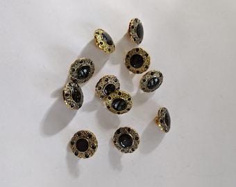 11 Gold Faux Onyx Plastic Buttons