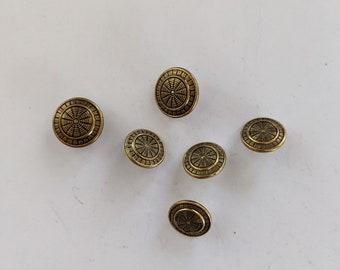 6 Shield Design Metal Gold Shank Buttons
