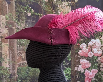 Burgundy Felt Bycocket - Laced Gothic Hat - Hunter's Cap - SCA Robin Hood Hat