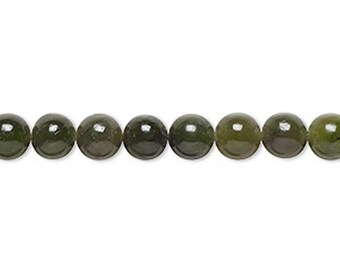 """6mm - 8mm Nephrite Jade Beads - Natural Round Gemstone - 16"""" Strand"""