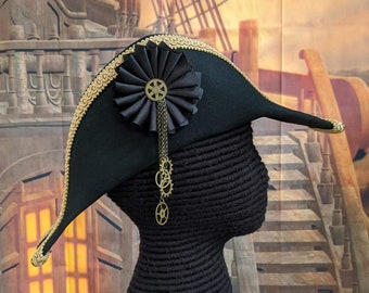 Steampunk Bicorne with Gold Trim - American Cocked Hat - War of 1812 - Napoleon