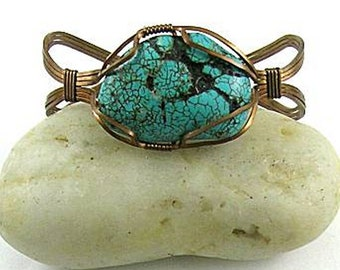 Tribal  Turquoise Slab Wire Wrapped Cuff