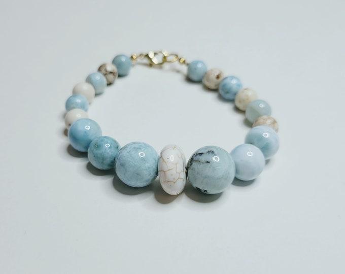 Larimar and Magnesite Bracelet - Gemstone Bracelet - Larimar Bracelet - Crystal Healing