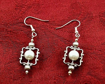 Framed Pearl Dangles #2 - Renaissance Earrings