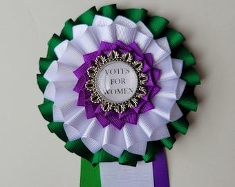 British/American Suffragette Cockade - Votes for Women Suffragist Badge Rosette - Triple Green Purple White Ribbon Rosette
