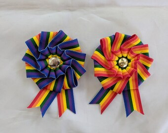 Small Folded Rainbow Cockade for Hats or Clothing - LGBTQ Pride Ribbon