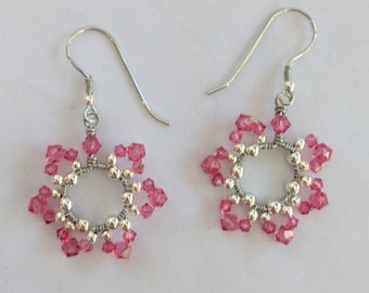 October Birthday Earrings - Pink Heart Chakra Swarovski Crystals