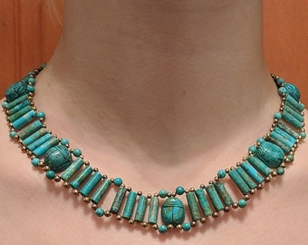 Turquoise Scarab Necklace - Protection Amulet - Egyptian - Victorian