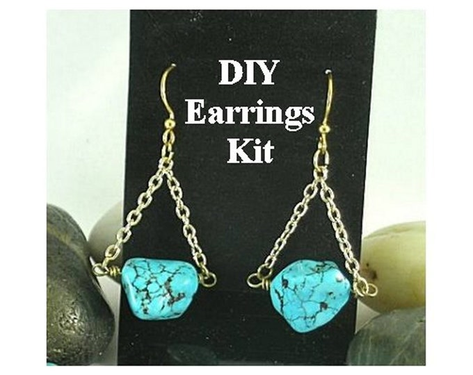 DIY Jewelry Kit - Turquoise Nugget Earrings - Instructions & Findings