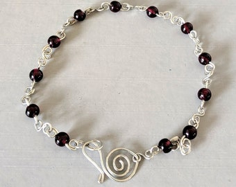 Personal Power Anklet - Red Garnet Beads - Root Chakra Energy - Spiral