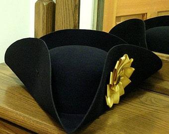 Gold Cockade Tricorn - Colonial Officer Tricorne - Captain's Cockade