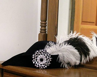 Checky Felt Bycocket - Laced Gothic Hat - Hunter's Cap - SCA Robin Hood Hat