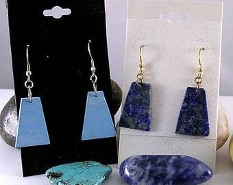 Lapis Lazuli or Turquoise Earrings - Aztec Mayan Native American