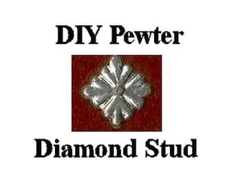 Pewter Stud - Diamond or Square Quartrefoil Studs - Belt Fittings