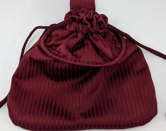 Burgundy Drawstring Hoop Belt Pouch - Game Bag Renaissance - Victorian
