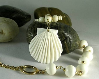 Pilgrim's Shell Bone Paternoster w/ Credo Cross - Tenner Rosary