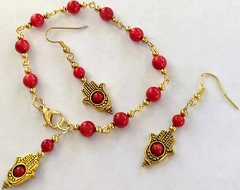 Coral Hamsa Hope Bracelet and Earrings - Fatima Hand - Hand of God
