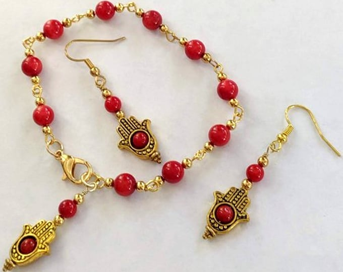 Coral Hamsa Hope Bracelet and Earrings - Fatima Hand - Hand of God