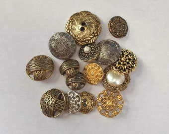 15 Mixed Metal Tone Plastic Buttons - Gold and Silver Shank Buttons