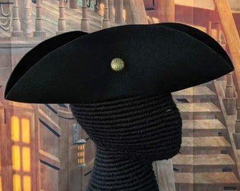 Buttoned Black Felt Tricorn - Cocked Hat - Colonial America