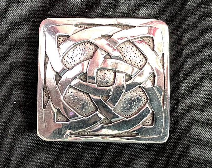 Silver Square Celtic Knot Brooch - Irish Pin - Gaelic