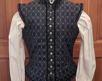 Blue Weston Brocade Fencing Jerkin Doublet - Gipsy Peddler SCA Rapier Armor