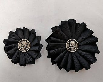 Skull Pleated Cockade - Ribbon Rosette - Pirate - Memento Mori
