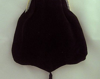 Black Velveteen Shoulder Purse - Renaissance